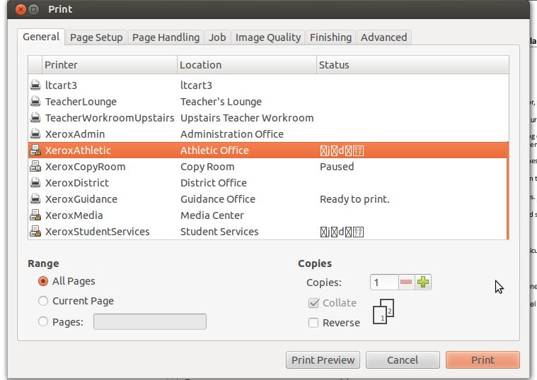 ASCII Printer Status