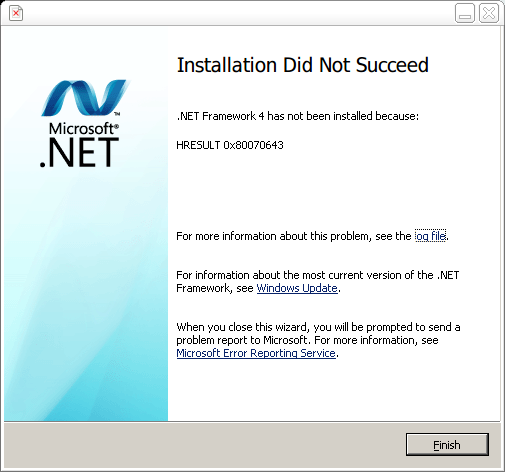 Dragon - 8 - .NET Framework Failed To Install