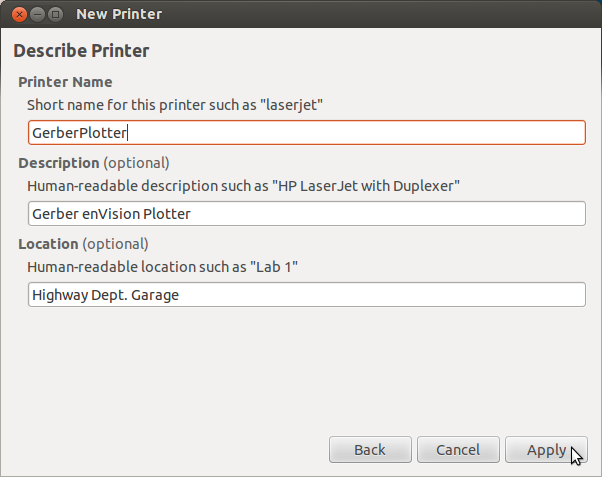 Finalize Printer Settings